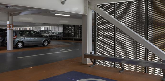 Perforated sheets and expanded metal used for multi-storey car park