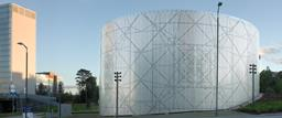 An elaborate perforation desigan creates an unusual facade