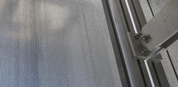 Perforated sheets used for a bright facade