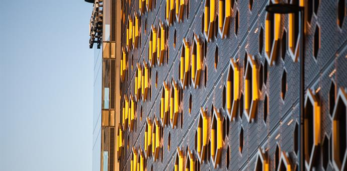 Perforated facade for multi-storey car park