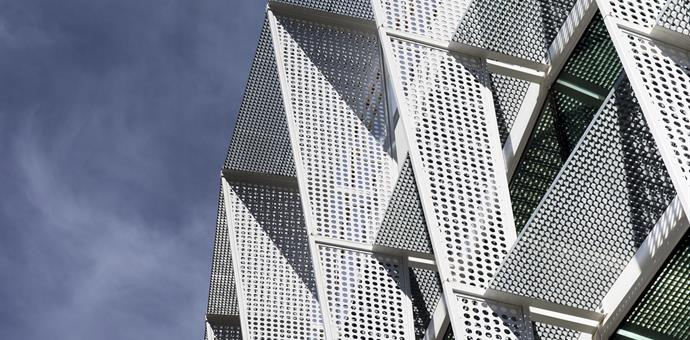 Sun screens of perforated metal