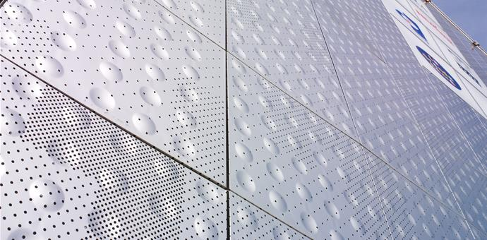 Perforated and embossed sheets for facade for Le Ruban Bleu, Saint Nazaire, France