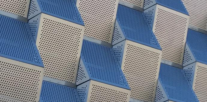 Perforated metal used for an unusual facade